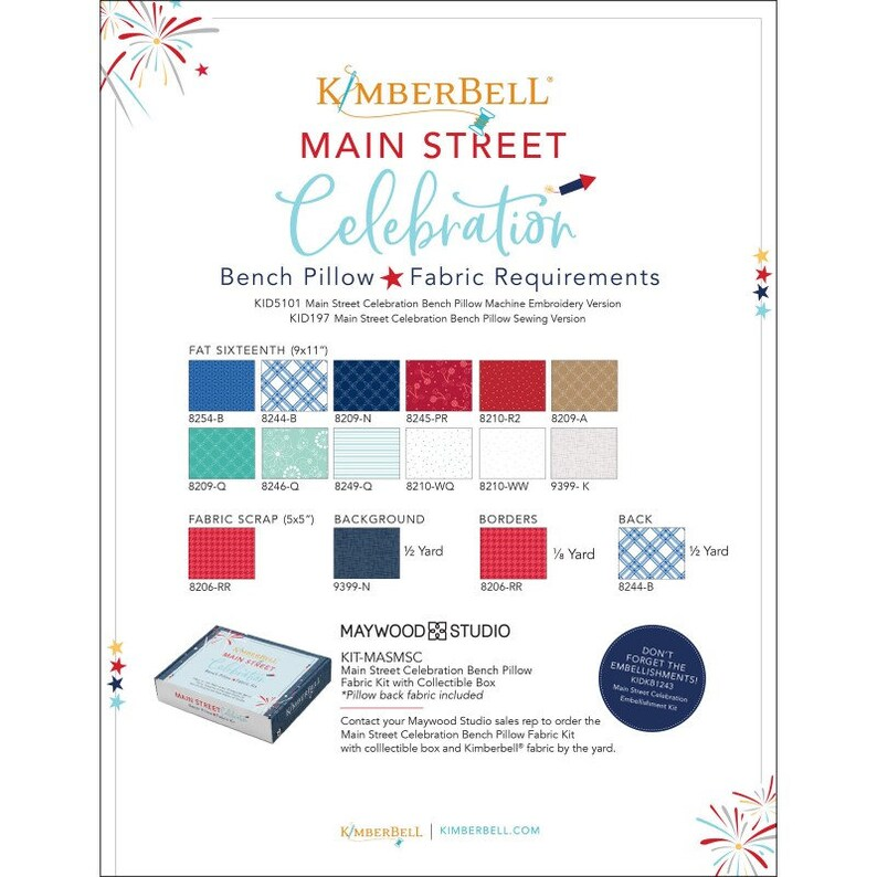 Fabric Embellishment Kit and Sewing Pattern BUNDLE Main Street Celebration Bench Pillow Kit for Sewing Version by Kimberbell