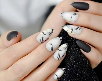 Black Marble Nails Etsy