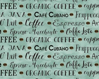 Coffee House Words Espresso Mocha Java on Tan BY YARDS Henry Glass Cotton Fabric