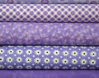 Purple fat quarter fabric bundle