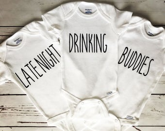 a29b34df3 Triplet Onesies, Triplet Bodysuits, Late Night Drinking Buddies Onesies, Drinking  Buddies Bodysuits, Set of 3 Bodysuits, Baby Shower Gift, 3