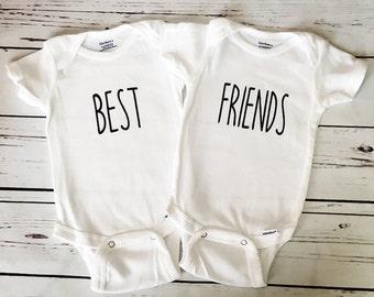 68811e547de9 Twin Onesies, Twin Bodysuits, Best Friends Onesies, Best Friends Bodysuits,  Gift For Twins, Set of 2 Bodysuits, Baby Shower Gift, Onesie Set