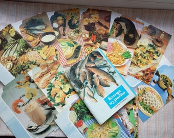 Fish Recipes Cards / Retro Food Photography Cards / Restaurant Wall Decor /  Vintage Paper Ephemera / Cook Or Fisher Gift
