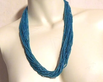 Sky blue glass bugle bead necklace, multiple strands, old glass
