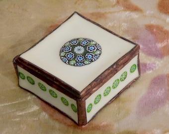 Fused glass treasure box--Green Medallion