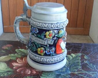 German Stein, Thewalt Beer Stein, Original Thewalt, Hand Painted , Vintage