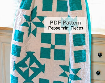 Digital PDF Quilt Pattern, Modern Quilting Tutorial, Easy Star Pinwheel Sewing Pattern, Traditional Quilt Pattern, Contemporary Quilt PDF