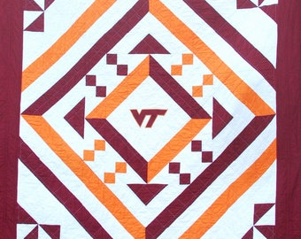 PDF VT Quilt Pattern, Digital Quilting Pattern, Virginia Tech Quilt, Lap, Twin, Full , Queen, King Size Quilt Top Sewing Instructions