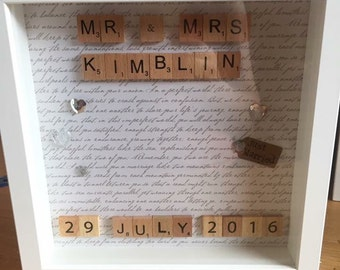 Personalised scrabble art frame for engagement or wedding