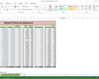 profit loss statement excel spreadsheet template microsoft excel small business template