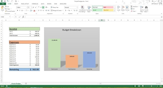 simple budget excel spreadsheet template microsoft excel etsy