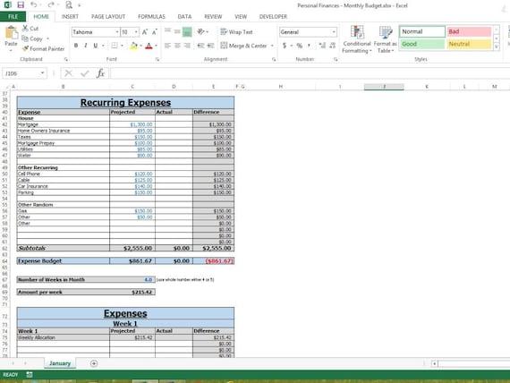 Monatliche Budget Vorlage Tabellenkalkulation Excel | Etsy