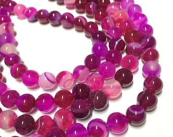 8mm Striped Agate Gemstone Beads - Pink Striped Agate - 13 inch Full strand - Round Gemstone Beads