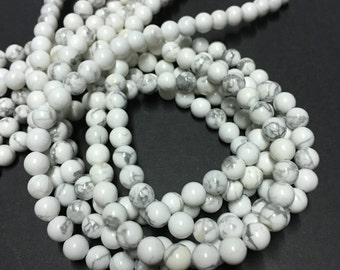 6mm White Howlite Gemstone Beads - 15 inch Full strand - Round Gemstone Beads