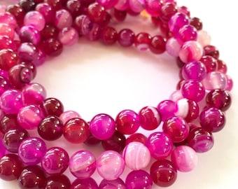6mm Striped Agate Gemstone Beads - Pink Striped Agate - 13.5 inch Full strand - Round Gemstone Beads