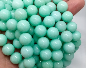 10mm Aquamarine Gemstone Beads - 14.5inch Full strand - Round Gemstone Beads