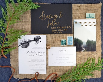Halstead suite, printable pinecone wedding invitation. Includes wedding invite and rsvp card.