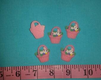 Pink Easter Bunny Basket Embellishment.  Acrylic embellishment, DYI, Flat Back, Resin Embellishment.