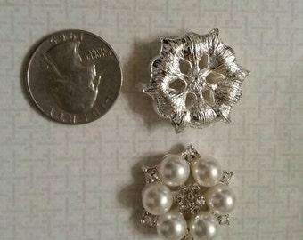2 pieces, Rhinestone, pearl, alloy, Flat Back, Embellishment, DIY