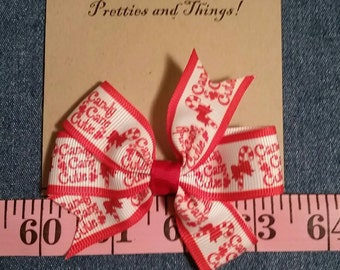 Candy Cane Cutie Hair Bow, Grosgrain Ribbon, Christmas, single prong alligator clip on back.