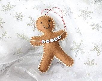 Personalised Felt Gingerbread Man Decoration, Christmas ornament, tree decorations