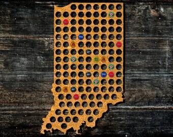 Indiana Beer Cap Map Etsy - Indiana beer cap map