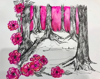 Mounted Wild Roses in the Forest Bloom Gouache and Ink on Paper