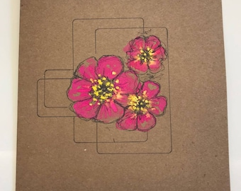 Hand Painted Square Botanical Greeting Card