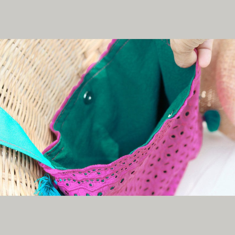Handmade Bohemian Beach Tote Bag with Colorful Lace and Tassels in Pink