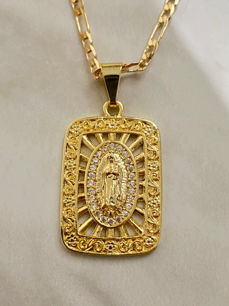 Virgen de Guadalupe CZ Tag Necklace