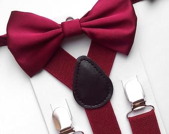 Burgundy bow tie and suspenders. Maroon bow tie. Burgundy handkerchief. Burgundy necktie. Maroon bow tie and suspenders. Maroon necktie set
