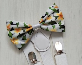 e968a8ace27a Tropical bow tie and suspenders. Tropical flower bow tie. Noeud papillon  tropical. Hawaiian bow tie. Tropical necktie and handkerchief