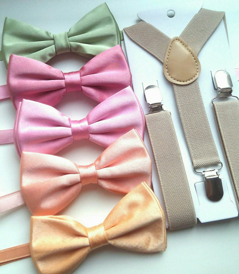 dcd053361a25 Labor day sale. Pastel satin bow ties and suspenders. Peach | Etsy