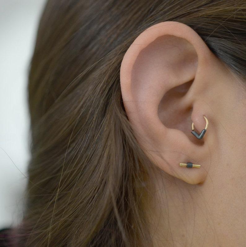 Black Tragus Ring Tragus Earring Cartilage Ring Tragus Ring Geometric Tragus Minimal Tragus Ring Unique Gold Tragus Piercing