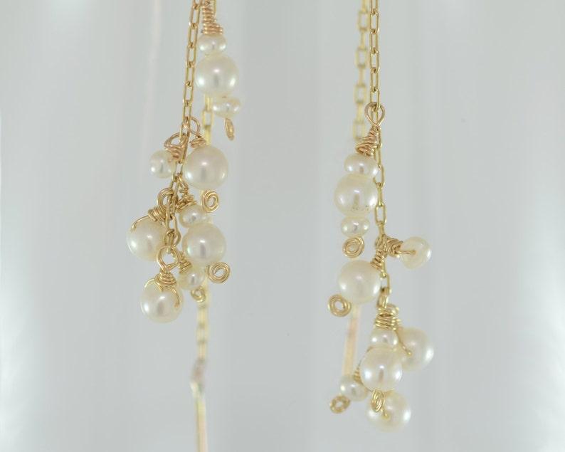 Pearl Dangle Earring Cluster Earring Pearl Drop Earring Chandelier Earring Pearl Threader Earring Pearl Earring Delicate Pearl Earring