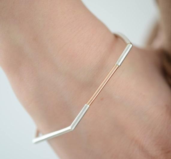 Contemporary Bar Bracelet Minimalist Modern Geometric Sterling Silver Minimal Bangle