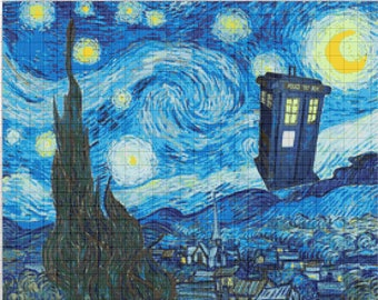 Van Gogh Starry Night Doctor Who Tardis 843 Modrn Cross Stitch Pattern Counted Cross Stitch Chart Pdf Format Instant Download