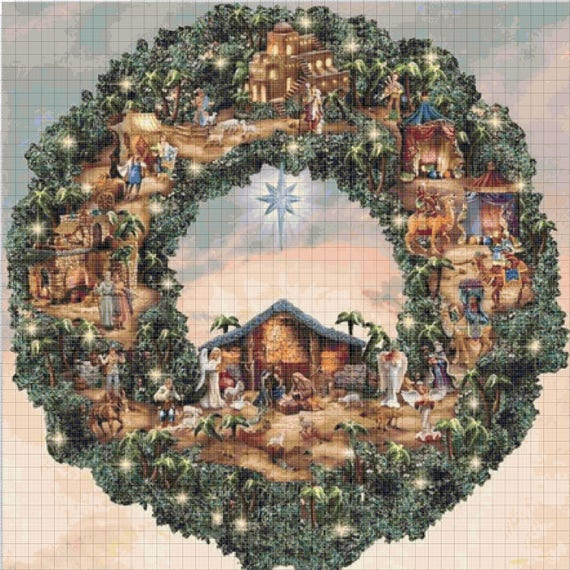 buy 2 get 1 free christmas wreath 339 cross stitch pattern etsy