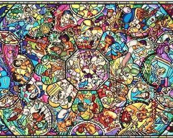 Fairy Tale Characters Stained Glass 149 Modern Cross Stitch Pattern Counted Princesses Cross Stitch Chart Pdf Format Instant Download