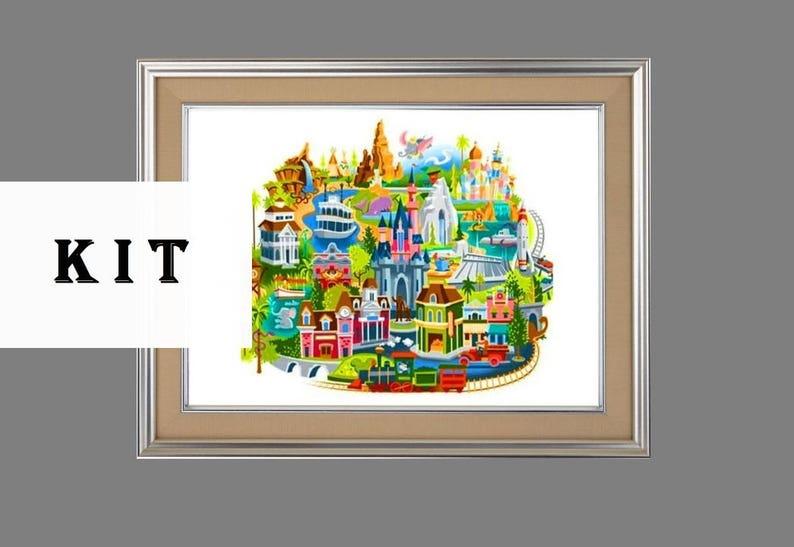 Disney Magic Kingdom Map art 086 Cross Stitch Kit | Etsy