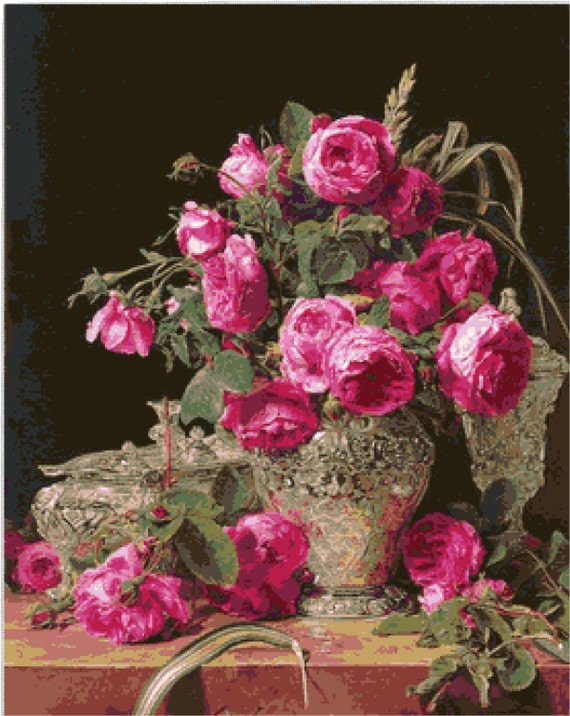 Roses For Sale Near Me >> Buy 2 Get 1 Free Roses In Silver Ferdinand Georg Waldmuller 718 Cross Stitch Pattern Counted Cross Stitch Chart Pdf Sale Instant Download