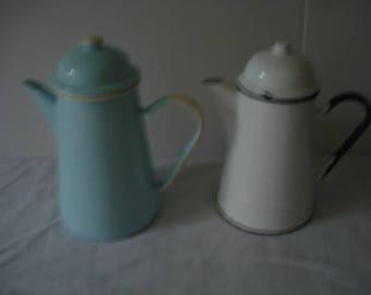 Two Vintage Enamel Coffee Pots