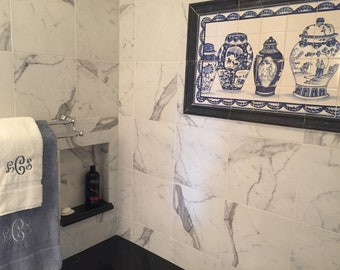 Hand Painted Blue and White Ceramic Tile Mural