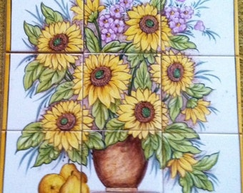 Hand Painted Sunflower Ceramic Tile Mural from Portugal