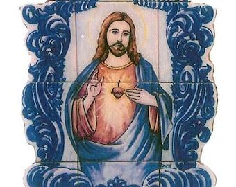 Sacred Heart of Jesus. Ceramic tile mural.  Religious art hand painted in Portugal
