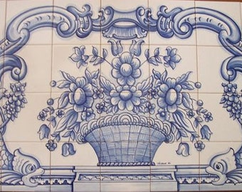 Traditional blue and white hand painted Portuguese mural