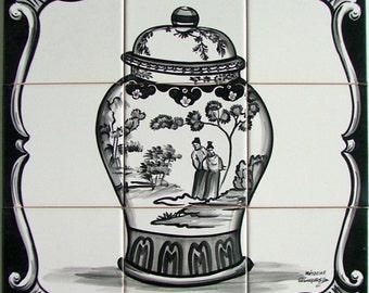 Chinese vase mural