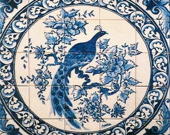 Portuguese azulejos tile mural. Magnificent  peacock blue white tile mural. backsplash. Stocked in the US for quick ship.