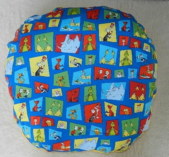 Dr Seuss In Squares Boppy Lounge Pillow Cover With Gold