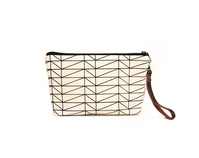 Waxed Canvas Wristlet Pouch - Architectural Line Pattern on Clay